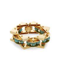 Lele Sadoughi - Blue Tropicana Havana Howlite, Marble & 14k Goldplated Bracelet - Lyst