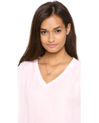 Michael Kors - Metallic Pave 3 Ring Double Chain Necklace - Lyst