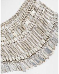 Pieces - Metallic Jean Coin Boho Necklace - Lyst