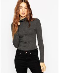 ASOS | Gray The Polo Neck With Long Sleeves | Lyst
