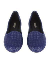 Bottega Veneta - Blue Woven Leather Carpet Slipper - Lyst