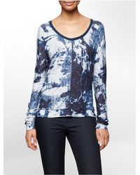 Calvin Klein - Blue Jeans Acid Wash Print Seamed Top - Lyst