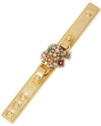 Betsey Johnson | Metallic Gold-Tone Crystal Heart Faux Leather Snap Bracelet | Lyst