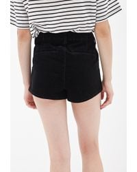 Forever 21 - Black High-waisted Corduroy Shorts - Lyst