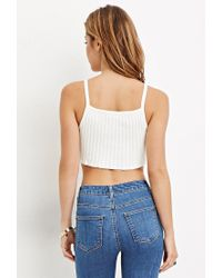 Forever 21 - White Ribbed Knit Cropped Cami You've Been Added To The Waitlist - Lyst
