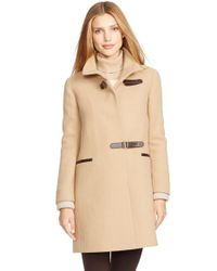 Lauren by Ralph Lauren | Natural Funnel Neck Basket Weave Coat With Knit Cuffs | Lyst