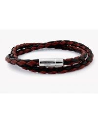 Tateossian - Double Wrap Two-tone Pop Bracelet In Brown And Black Leather With Silver Clasp for Men - Lyst