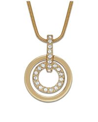 Swarovski | Metallic Gold-tone Double Circle Crystal Pendant | Lyst