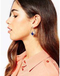 ASOS | Metallic Geo Enamel Drop Earrings | Lyst