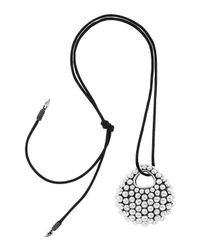 Lagos - Metallic Leather Necklace With Large Caviar Pendant - Lyst