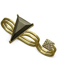 Guess | Metallic Gold-Tone Two Row Double Finger Ring | Lyst