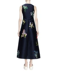 Stella McCartney - Blue Kaitlyn Floral-embroidered Shantung Midi Dress - Lyst