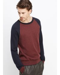 Vince - Red Cotton Cashmere Colorblock Crew Neck Sweater for Men - Lyst