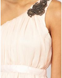 AX Paris | Beige One Shoulder Prom Dress | Lyst