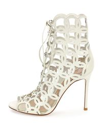 Gianvito Rossi - White Open-Toe Cut-Out Leather Boots - Lyst