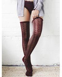 Free People | Purple Womens Sarasota Over The Knee Sock | Lyst