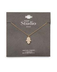 Sequin | Metallic Pavã Hamsa Hand Necklace | Lyst