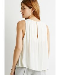 Forever 21 | Natural Pleated Top | Lyst