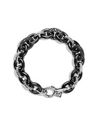 David Yurman | Blue Midnight Melange Oval Small Link Bracelet With Black And White Diamonds | Lyst