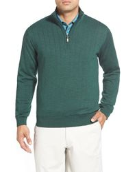 Bobby Jones | Green Windproof Quarter Zip Merino Wool Sweater for Men | Lyst