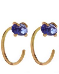 Melissa Joy Manning | Metallic Gold Tanzanite Hug Hoop Earrings | Lyst