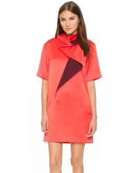 KENZO - Pink Cowl Neck Colorblock Dress - Coral Red - Lyst