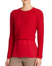 Elie Tahari - Red Giada Sweater & Blouse Set - Lyst