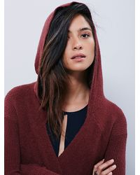 Free People - Purple Womens Sloane Hooded Wrap Cardi - Lyst