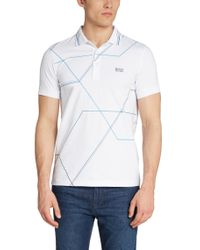 BOSS Green | Blue 'paule' | Slim Fit, Stretch Cotton Polo Shirt for Men | Lyst