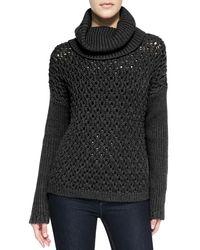 Alice + Olivia - Black Chunky Drop-shoulder Turtleneck Sweater - Lyst