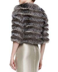 Pamella Roland - Metallic Fox Fur & Scalloped Lace Layered Jacket - Lyst