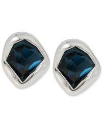 Robert Lee Morris   Metallic Silver-tone Blue Stone Post Earrings   Lyst