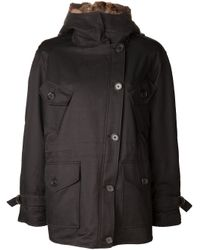 Army by Yves Salomon | Black Gabardine Coat | Lyst