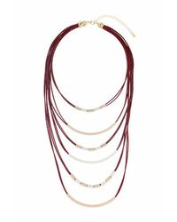 TOPSHOP | Brown Cord And Bar Multi-row Necklace | Lyst