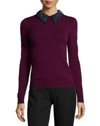 MILLY | Purple Beaded Tuxedo Collar Sweater | Lyst