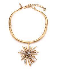 Oscar de la Renta | Metallic Starburst Faux Pearl Pendant Collar Necklace | Lyst