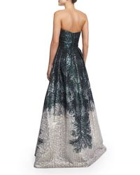THEIA | Metallic Strapless Abstract-Print Gown | Lyst