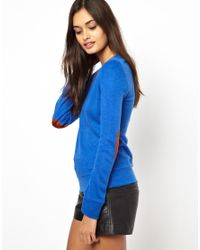 Glamorous - Blue Knit Jumper with Elbow Patch - Lyst