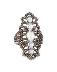 Bavna | Metallic Diamond Pave Moonstone Cocktail Ring | Lyst