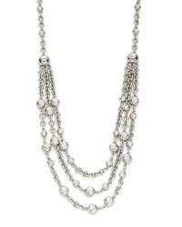 Oscar de la Renta | Metallic Three Row Crystal Collar Necklace | Lyst