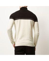 River Island - Black Cream Block Color Roll Neck Sweater for Men - Lyst