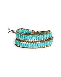 Panacea - Blue Howlite Beaded Wrap Bracelet - Lyst