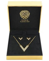 Vince Camuto | Metallic Gold-Tone Crystal Pavé V Necklace And Earring Set | Lyst