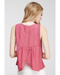 Forever 21 - Purple Tulip Back Embroidered Top - Lyst