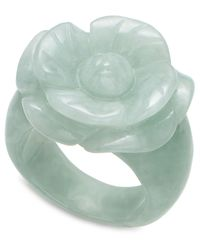 Macy's - Green Jade Carved Flower Ring (16Mm) - Lyst