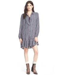 Free People Gray Button Front Shirtdress