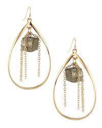 Panacea | Metallic Pyrite Teardrop Earrings | Lyst