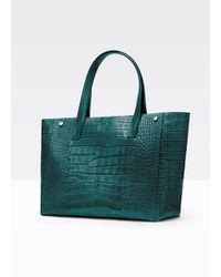 VINCE | Green Signature Collection Croc-Embossed Tote | Lyst