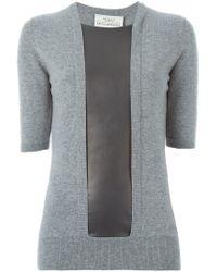 Pringle of Scotland - Gray Leather Panel Sweater - Lyst