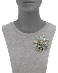 Alexis Bittar | Green Vert D'Eau Lucite & Crystal Large Flower Pin | Lyst